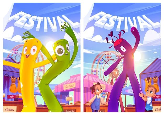 Festival met kermis, kinderen, luchtdanseres, reuzenrad Gratis Vector