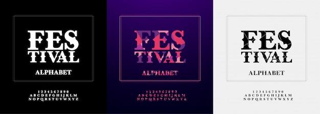 Festival moderne alfabet en nummer lettertype ingesteld