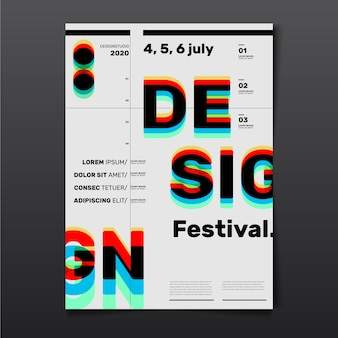 Festival ontwerp poster met 3d-rode cyaan glazen effect