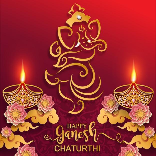 Festival van ganesh chaturthi met gouden glanzend lord ganesha-patroon en kristallen op papierkleur achtergrond.