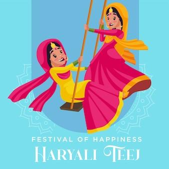 Festival van geluk haryali teej banner ontwerpsjabloon