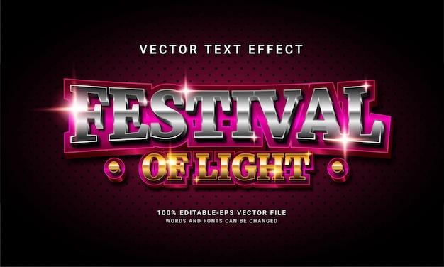 Festival van licht 3d bewerkbaar tekststijleffect