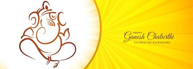 Festivalbanner voor gelukkige ganesh chaturthi-bannerachtergrond