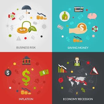 Ffinanciële crisis 4 plat pictogrammen plein