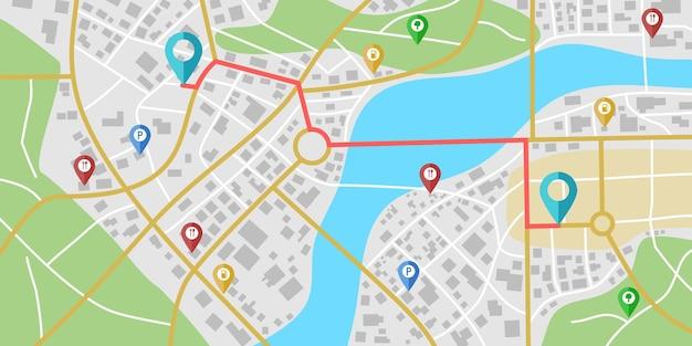 Fictieve stadskaartnavigatie met rivieren en parken.