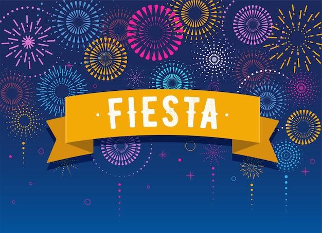 Fiesta, vuurwerk en feestachtergrond, winnaar, overwinningsposter, spandoek Premium Vector