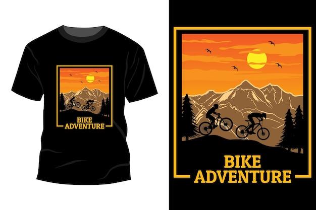 Fiets avontuur t-shirt mockup ontwerp vintage retro