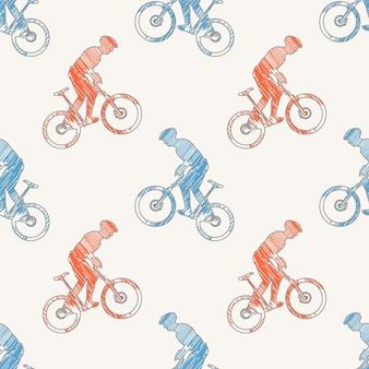 Fiets en fietsers man patroon illustratie. creatieve en sportieve afbeelding