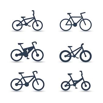 Fiets, fietsen, fiets, elektrische fiets, vetfietspictogrammen, vector