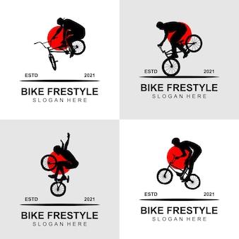 Fiets freestyle logo ontwerp vector