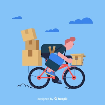 Fiets levering concept met pakketten