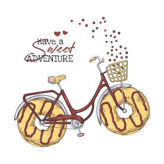 Fiets met donuts in plaats van wielen.