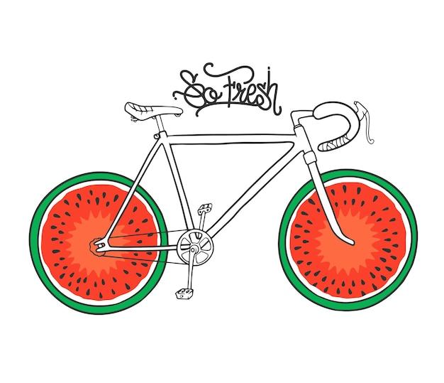Fiets met watermeloen als wiel, t-shirt print.