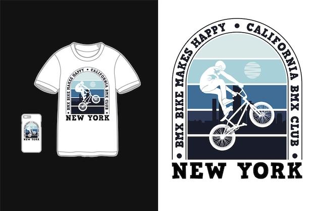 Fiets motorcross maakt me blij, mockup retro merchandise t-shirt