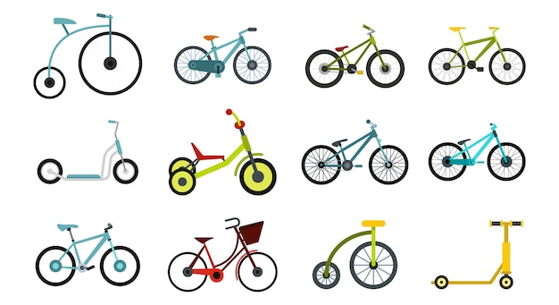 Fiets pictogramserie. vlakke set van fiets vector iconen collectie geïsoleerd