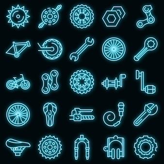 Fiets reparatie pictogrammen instellen. overzicht set van fiets reparatie vector iconen neon kleur op zwart