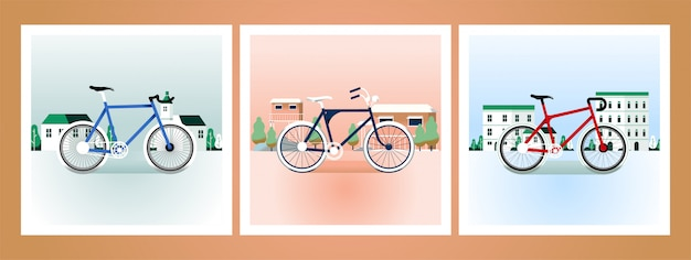 Fiets retro illustraties kaart