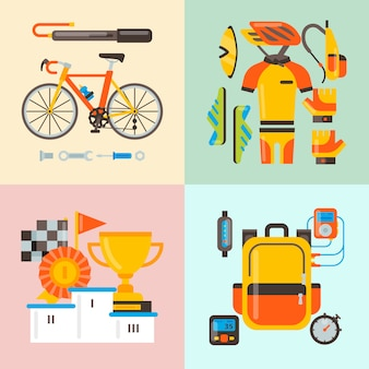 Fiets uniform en sport accessoires vector illustratie. fietsactiviteit, fietsuitrusting en sportaccessoire.
