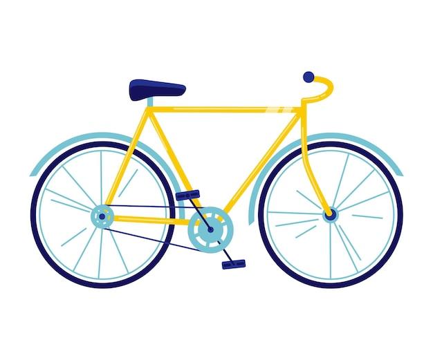 Fiets vectorillustratie in vlakke stijl. gele fiets geïsoleerd op witte achtergrond