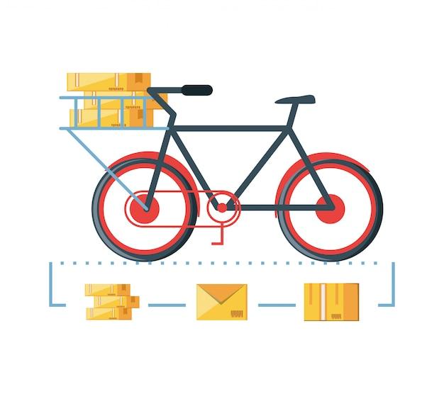 Fiets voor logistieke service geïsoleerde pictogram