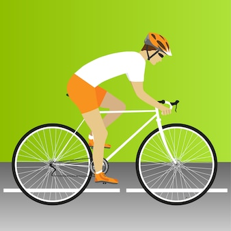 Fiets, weg, wielerwedstrijd, wielrennen, fiets, racefietswedstrijd. vector illustratie