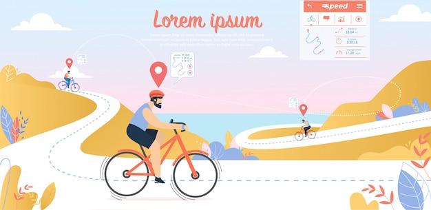 Fietsen competitie, young sportsmen rijden fietsen op mountain streamer route met seascape view