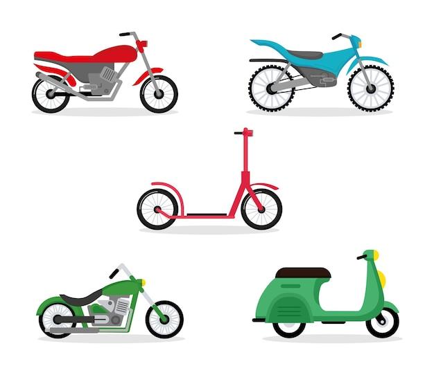 Fietsen vijf met motorfietsen voertuigen