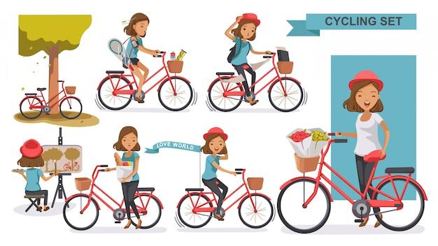 Fietsen vrouw set. vrouw met hoed vrije tijd zomer. stadsfiets ontspan in het park, schilderen, sporten, aan het werk, naar de markt.
