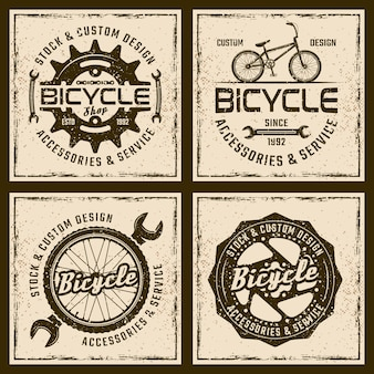 Fietsenwinkel en service vintage emblemen of prints op grunge achtergrond