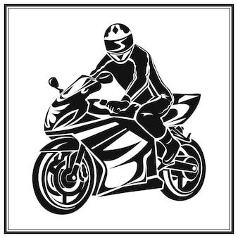 Fietser die een motorfiets berijdt. bikers evenement of festival embleem.