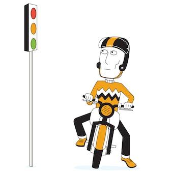 Fietser en verkeersopstopping