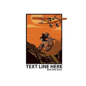 Fietser en vliegtuig