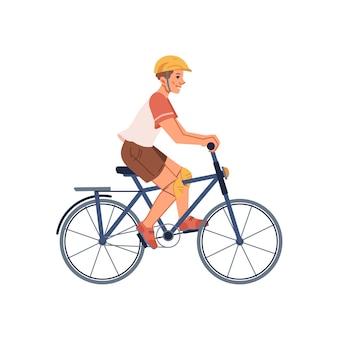 Fietser jongen in beschermende helm platte cartoon tiener rijden op de fiets