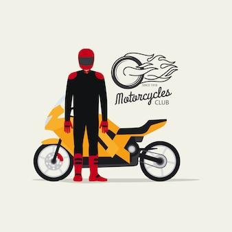 Fietser met motorfiets in vlakke stijl