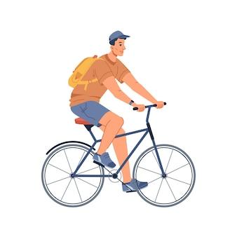 Fietser met rugzak man met rugzak op de fiets