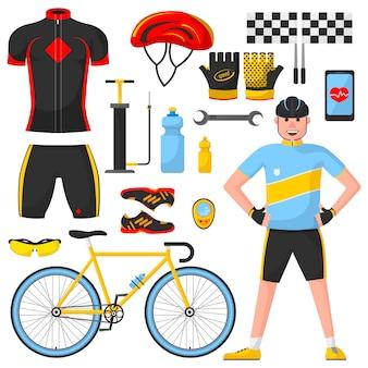 Fietser met verschillende fietsonderdelen.