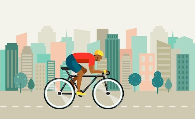 Fietser rijden op de fiets op stadsillustratie en poster