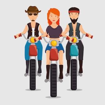 Fietsercultuurfietsers rijden op motorfietsen