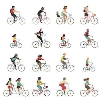 Fietsers ingesteld. gelukkige mensen die fietsfamilie berijden fietsen achter elkaar kinderen vrouwenmannen sportuitrusting openluchtactiviteit