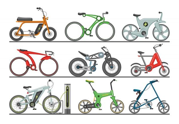 Fietsers van het fiets de moderne ontwerp fietsen het biking vervoer met wielen en pedalenillustratie