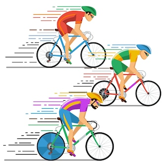 Fietsers wielrennen. tekens platte ontwerpstijl. fietser fietsen, racer op competitie