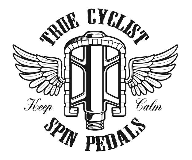 Fietslogo, vintage illustratie van een fietspedaal met vleugels op de witte achtergrond
