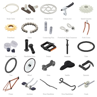 Fietsonderdelen pictogrammen instellen. isometrische illustratie van 25 fietsonderdelen vector iconen voor web
