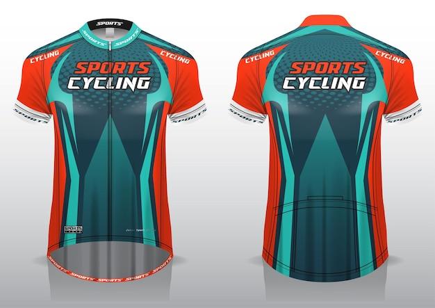 Fietsshirt, voor- en achteraanzicht, sportief design en klaar om geprint te worden op stof en texlite