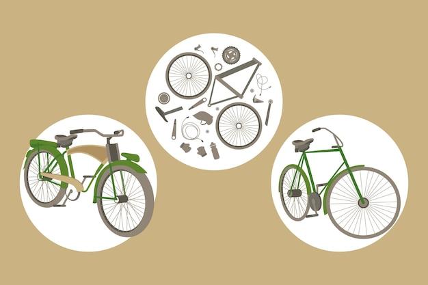 Fietssport drie pictogrammen Premium Vector