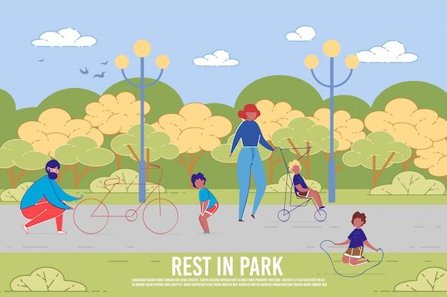 Fietstocht en familie-zomerrust in het park.