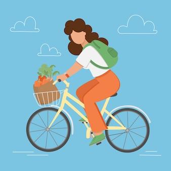 Fietstuin vrouw met winkelen rijdt vanuit de winkel vectorillustratie in vlakke stijl om af te drukken