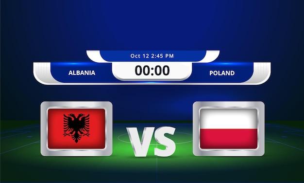 Fifa wereldbeker 2022 albanië vs polen voetbalwedstrijd scorebord uitzending