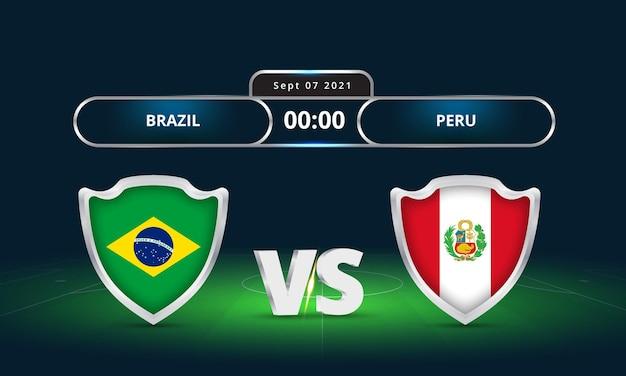 Fifa wereldbeker 2022 brazilië versus peru voetbalwedstrijd scoreborduitzending