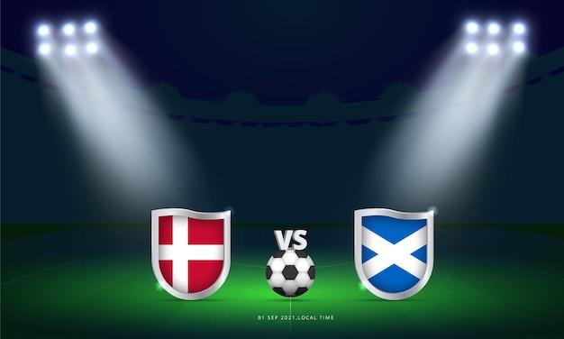 Fifa wereldbeker 2022 denemarken vs schotland kwalificatie voetbalwedstrijd scorebord uitzending